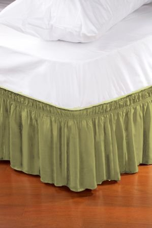 Kennedy Home Collection Wrap Around Style Easy Fit Elastic Bed Ruffles (Queen/King, Sage Green)
