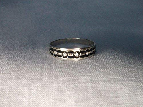Enamel Diamond Mens Bands - Stunning Estate 14K White Gold Enamel Diamond Mens Wedding Band Ring