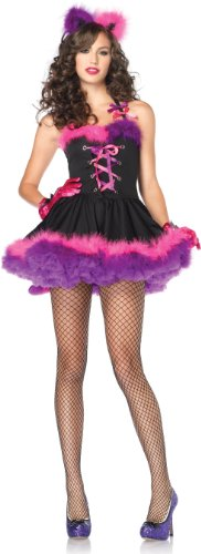 Adult Deluxe Cheshire Cat Costumes (Leg Avenue Women's Mischievous Cheshire Cat Costume, Black/Purple, Small/Medium)