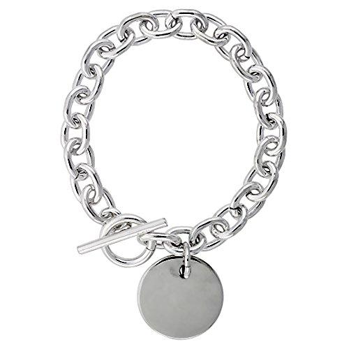Sterling Silver Heavy Oval Rolo Link Bracelet w/ Round Tag, 8 inch long (Sterling Tag Oval Bracelet Silver)