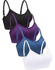 4 Pieces V Neck Bralettes Wireless Cami Bra Tank Top Bra Sports Bra for Women Girls