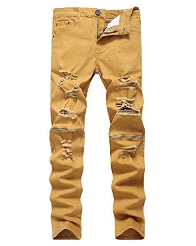 Rasgados Mezclilla del Estiramiento Skinny Fashion Lannister Destruidos De Cierre Pantalones De Los Retro De Hombres Delgados De Tiefeskhaki De Mezclilla Pantalones Pantalones Mezclilla Ocasionales tw4wqHx1