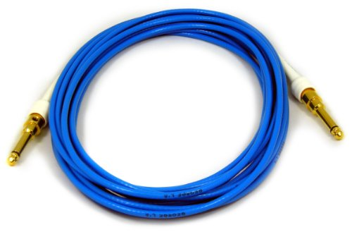 - George L's 155 Guage Cable with Gold Straight Plugs (Blue, 20 Foot)