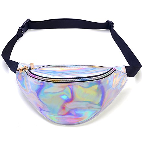 Miracu Neon Holographic Fanny Pack, 80s Cute Fashion Fanny Packs for Women Girls, Shiny Waist Pack Bum Bag for Rave, Festival, Party, Travel (Holographic Silver)