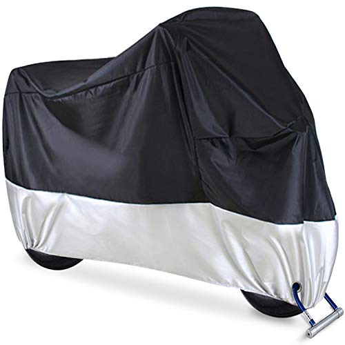 Motorcycle Cover, Ohuhu All Season Waterproof Motorbike Covers with Lock Holes, Fits up to 108