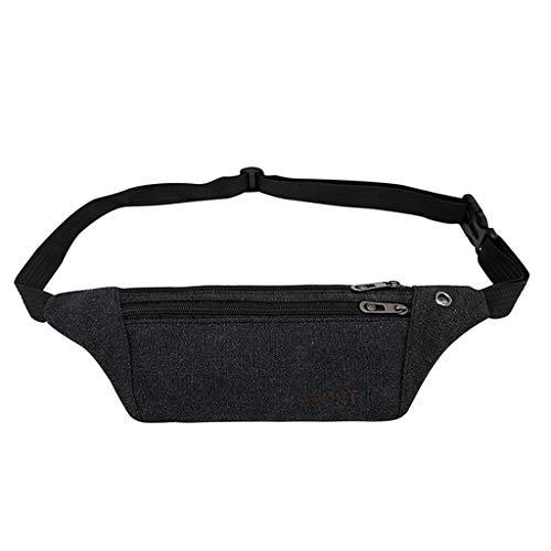 Multifunction Men Fanny Pack Canvas Waist Bag Travel Bum Bag Women Lightweight with Earphone Hole Anti-Theft Bag Fit 6