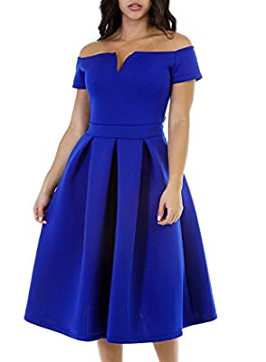Lovezesent Women Vintage 1950s Off The Shoulder Swing Party Cocktail Midi Dress