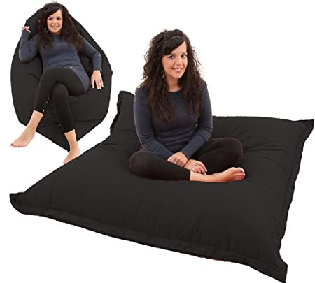 RAVIOLI GIANT - Bean Bag Chair Beanbag Floor Cushion (Black): Amazon ...