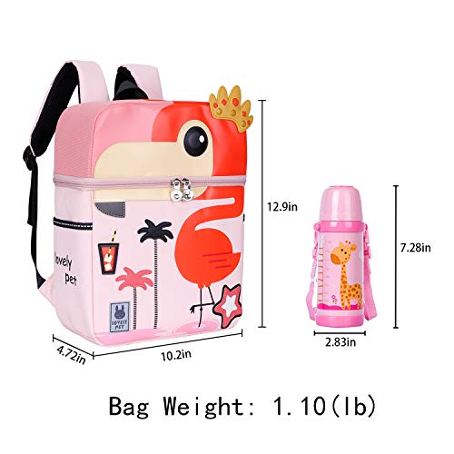 LEEGOYO Kids Backpack Cute 3D Zoo Bag with Night Glow Strips and Name Label for School Party Travel Birthday Gift,2-6 Yrs