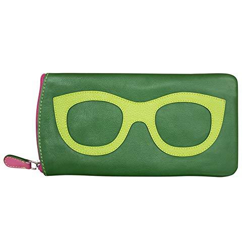 - ili New York 6462 Leather Eyeglass Case (Emerald/Leaf/Hot Pink)