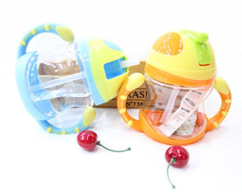 Inovey Baby Kid Lovely Durable Straw Cup Drinking Leakproof Bottle Sippy Cup With Handle - Yellow