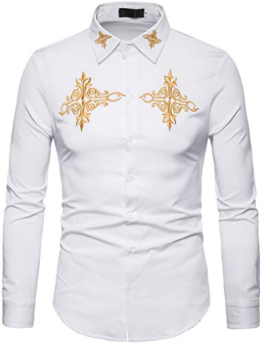 ZEROYAA Mens Hipster Gold Embroidery Design Slim Fit Long Sleeve Button Down Shirts ZHCL08 White X-Large