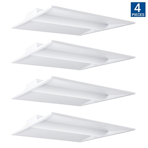 Hyperikon LED Volumetric Troffer, 20W, 2x2ft, Recessed Architectural Panel Light Fixture, 2500 Lumens, Dimmable, 5000k, Fluorescent Replacement, Commercial Drop Ceiling Light, Office, School - 4 Pack by Hyperikon