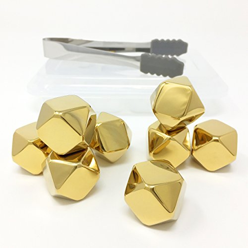 Whiskey-Stones-Gold-Edition-Gift-Set-of-8-Stainless-Steel-Diamond-Shaped-Ice-Cubes-Reusable-Chilling-Rocks-including-Silicone-Tip-Tongs-and-Storage-Tray