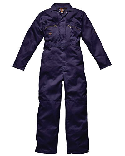 Dickies Coverall / Overall Redhawk Metal Zip Front with Knee pad pouches (Medium Chest To Fit 40'-42': Regular 30', Navy) WD4839