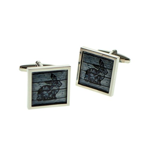 Square Cufflinks Framed - Geometric Rabbit On Driftwood Square Framed Cufflinks X2BOCSB076