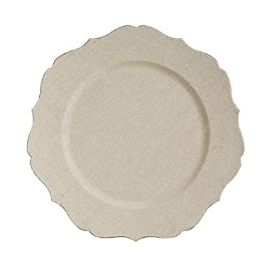 Fleur de Lis Scalloped Edge Charger Plate [Set of 6]