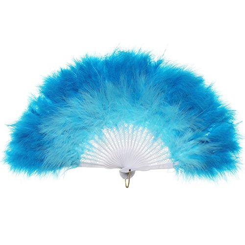 (BABEYOND Roaring 20s Vintage Style Folding Handheld Flapper Marabou Feather Hand Fan for Costume Halloween Dancing Party Tea Party Variety Show 11