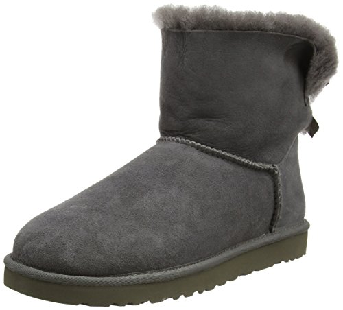 Bow Ankle Boot (UGG Australia Womens Mini Bailey Bow Boot Grey Size 8)