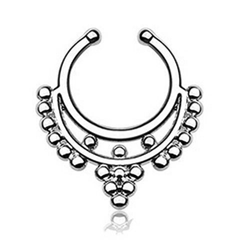1PCS Damen Mädchen Septum Clicker Ring Fake Wechselrahmen Nase Ringe mit One Line Strass für Frauen Mädchen Teens, wählen Sie eine jetzt. Silber