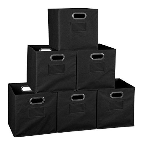 Niche Set of 6 Cubo Foldable Fabric Bins- Black