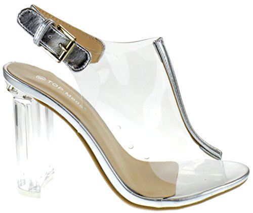 1 Sandals Top Lucite Chunky Heel Peep Womens Clear Silver Moda Fenton Toe pwvxgwqEC
