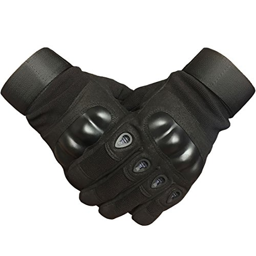 Adiew Military Hard Knuckle Tactical Touch Screen Black Glove Full Finger Army Airsoft Sport Shooting Paintball Hunting Riding Motorcycle Gloves for Men or Women(Large)