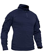 TACVASEN Men's Military Shirts Slim Fit Pullover Long Sleeve 1/4 Zip T-Shirt