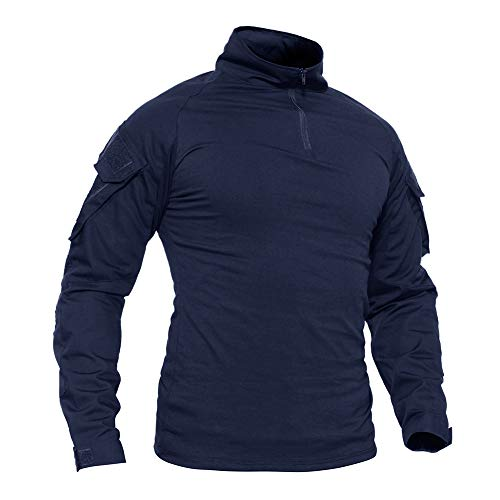 TACVASEN Men's Military Rapid Assault Sleeve Slim Fit Long Sleeve Combat T-Shirt Navy,US S/Tag L (Swat Vest Paintball)