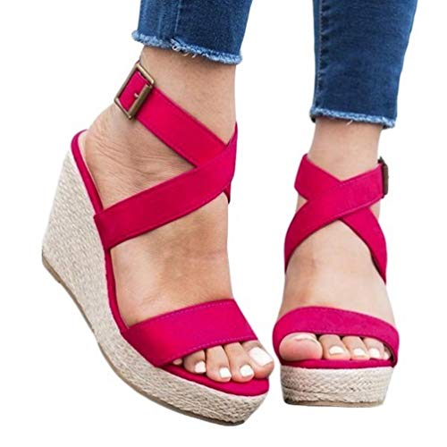 Womens Wedge Platform Espadrille Strappy Sandals Cross Ankle Strap Slingback Open Toe High Heel Summer Sandals Rose - Slingback Strappy Wedge