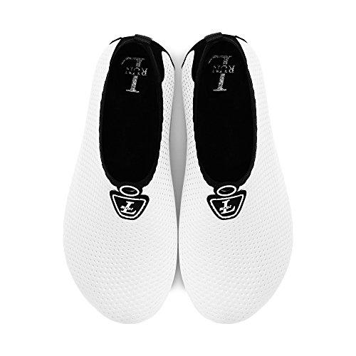 L-RUN Unisex Wasser Schuhe Barfuß Haut Schuhe für Dive Surf Swim Beach Yoga Reines Weiß
