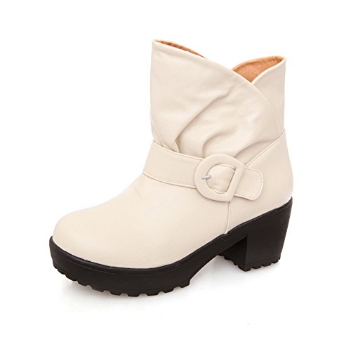 B 5 Beige Toe US PU Solid Round Boots Plush Heels M Heels with AmoonyFashion Closed Short Womens Chunky Kitten 4ZWqUac