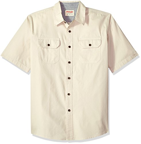 (Wrangler Authentics Authentics Men's Short Sleeve Classic Woven Shirt, pumice stone, XL)