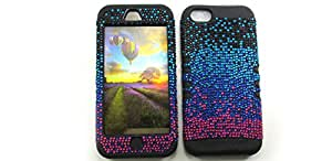 SHOCKPROOF HYBRID RHINESTONE CELL PHONE COVER PROTECTOR FACEPLATE HARD CASE AND BLACK SKIN WITH STYLUS PEN. KOOL KASE ROCKER FOR APPLE IPHONE 5C BLACK BLUE PINK BK-FD173