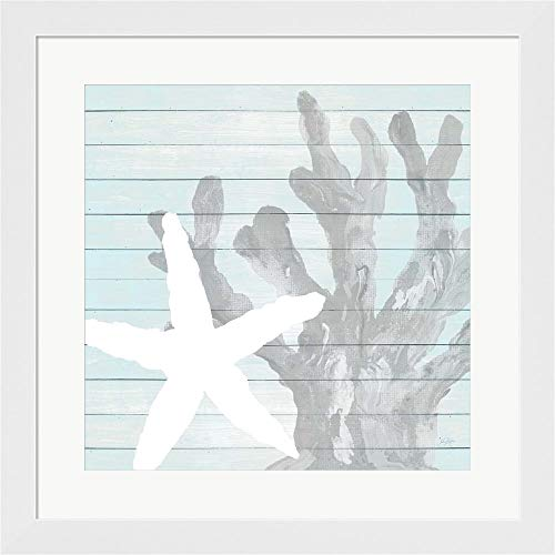 Starfish on Blue Wood by Julie DeRice Framed Art Print Wall Picture, White Flat Frame, 20 x 20 inches