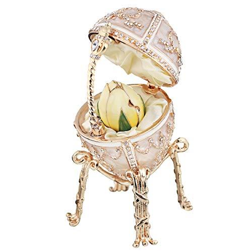 danila-souvenirs Russian Faberge Style Rosebud Egg/Trinket Jewel Box with Pendant 3.6'' Cream