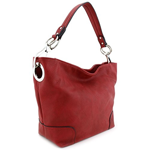(Women's Hobo Shoulder Bag with Big Snap Hook Hardware Red)