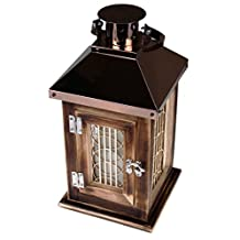 Traditional Copper and Wood Lines and Swirls Electric Candle Holder Decorative Hanging Lantern - Includes A Free Flameless Candle