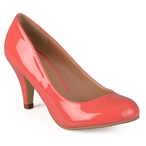 [Journee Collection Womens Round Toe Patent Pumps Coral 8.5] (Journee Collection)