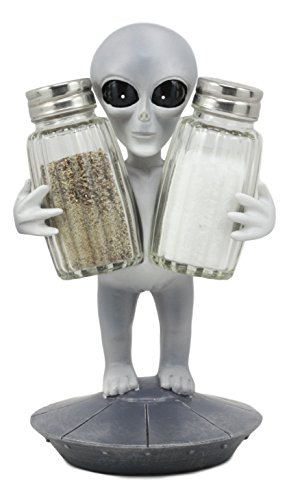 Ebros Extra Terrestrial UFO Outer Space Colony Roswell Alien Salt And Pepper Shakers Holder Figurine Stand For Kitchen Hosting Cook Hobbyist (Collectibles Ufo)