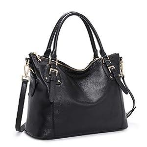 Kattee Women's Genuine Leather Handbags Shoulder Tote Organizer Top Handles Crossbody Bag Satchel Designer Purse Large…