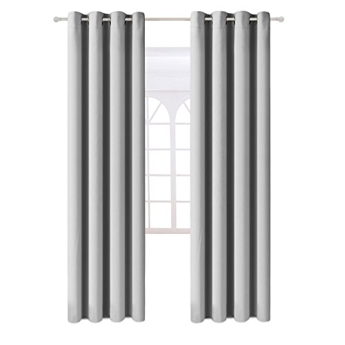 Fairyland Blackout Window Curtains Grommet Thermal Insulated Drapes 2 Panels 250g for Bedroom&living Room(Light Grey, 52x63 in)