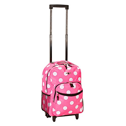(Rockland Luggage 17 Inch Rolling Backpack, Pink with White Dots)