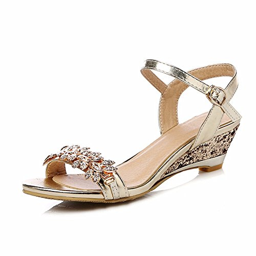 No. 55 Shoes Estate Diamanti Aprire Le Dita dei Piedi con Sandali Ladies Ladies Dating Sandali,US5/EU35/UK3/CN34,888-oro