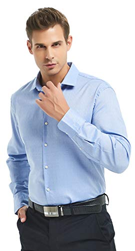 - Nolwenn Men's Dress Shirt Spread Collar Long Sleeve (Blue Heron, X-Large)