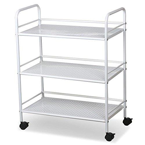 FDInspiration White 29.5″ Rolling Trolley Cart Salon Spa Storage Utility Trolley Equipment Organizer w/ 3 Shelves with Ebook