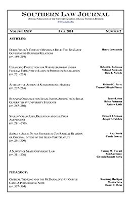 Southern Law Journal, Vol. XXIV, No. 2, Fall 2014