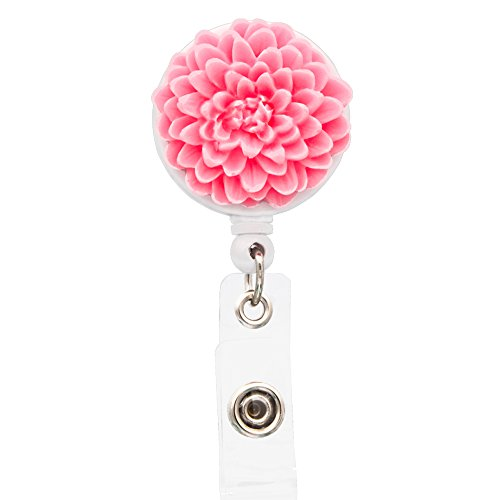 Badge Nurse (Ascrafter Resin Pink Chrysanthemum Retractable Name Card Badge Holder with Alligator Clip, ID Badge Reel Clip On Card Holders)