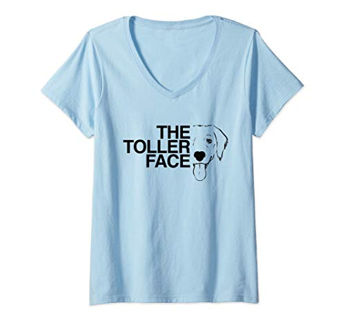 Womens Duck Toller Shirt The Toller Face NSDTR Dog V-Neck T-Shirt