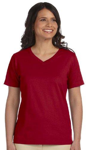 LA T Ladies' V-Neck T-Shirt - Garnet - L